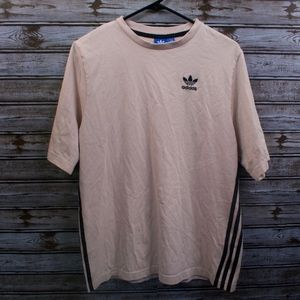 VTG adidas Men's T-Shirt Pink Navy Stripes on Side